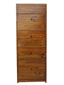 China holzfarbebe Shoe Cupboard Pine 4 wide compartments and side Schuebe