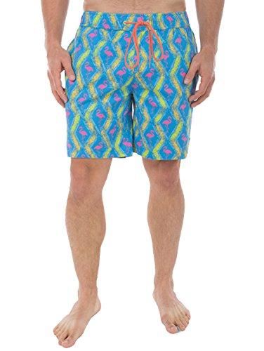 [Men's Flamingo Beach Shorts - Bright Neon Short Shorts: XX-Large] (80s Fashion For Men)