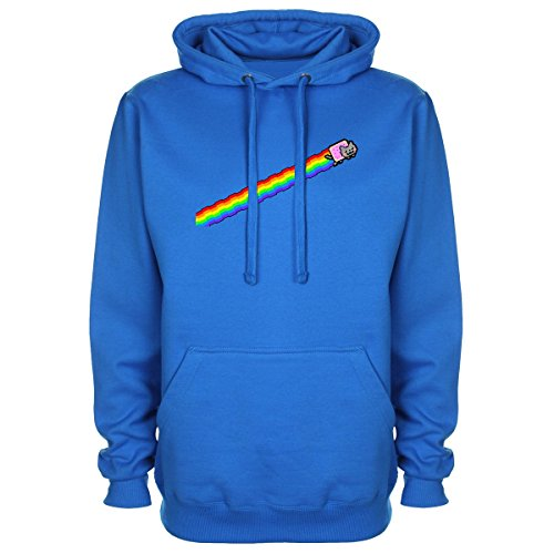 Nyan Cat Away Funny Gaming Hoodie - Blue - XX-Large (48-50 inches)