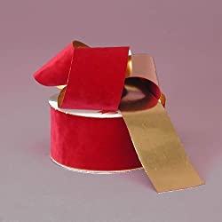 "Red Flocked Velvet Ribbon With Gold Backing, 1-3/8"" X 25 Yard"