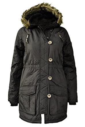 Girls Kids Brave Soul Kids Fur Hooded Padded Quilted Military Parka Jackets Coats Khaki Black Size 7/8 9/10 11/12 13 Years (7/8 Years, Black)