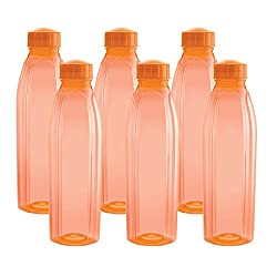 Cello Crystal PET Fridge Bottle Set, 1 Litre, Set of 6, Orange