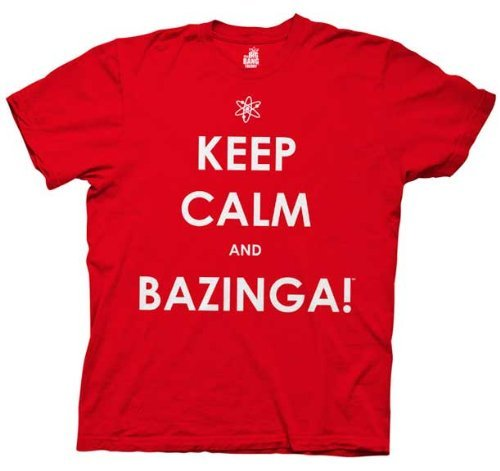 The Big Bang Theory Keep Calm And Bazinga Mens Tee ( Red, Large)