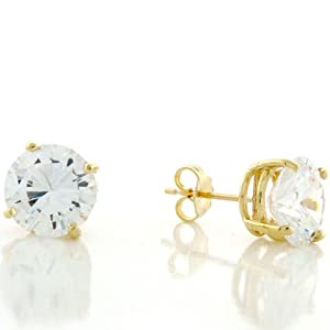 14K Solid Yellow Gold 9Mm Round White CZ Post Earing