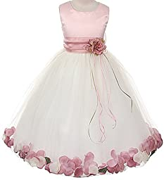 Satin Rose Bodice Communion Flower Girl Pageant Petal Dress: Ivory/Rose - Infant XL