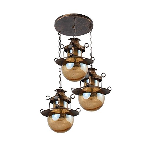 LeArc Designer Lighting Wrought Iron Rustic Finish Pendent HL3849-3