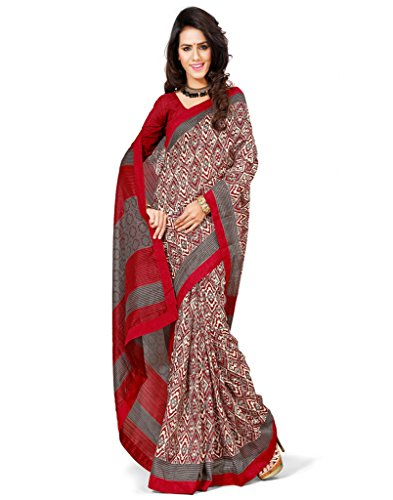 Inddus Women Brown & Red Color Art Silk Fashion Saree