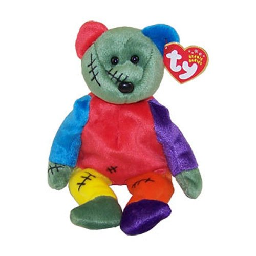 TY Beanie Baby - FRANKENTEDDY Bear (Green & Purple Feet) (8.5 inch) - 1
