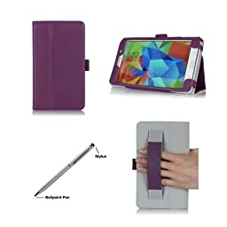 ProCase Folio Case with Stand for Samsung Galaxy Tab 4 7.0 Tablet 2014 ( 7 inch Tab 4, SM-T230 / T231 / T235), with Hand Strap, bonus stylus pen included (Purple)