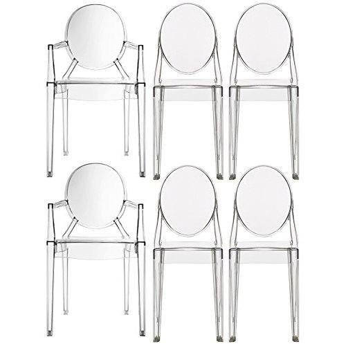 2xhome - Set of Six (6) - Clear - Modern Designer Ghost Style Chairs - Two (2) Louis Ghost Armchairs W/arm - And Four (4) Armless Victoria Ghost Side Chairs Polycarbonate Plastic Transparent Crystal Clear Novelty Fine Dining Furniture No Arm No Side