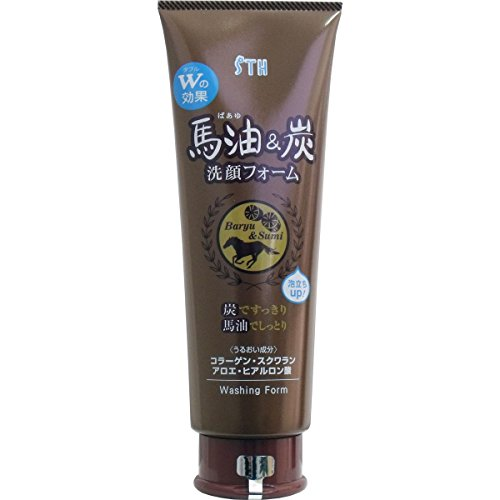 Horse oil and charcoal cleansing foam tube 250mL *AF27*