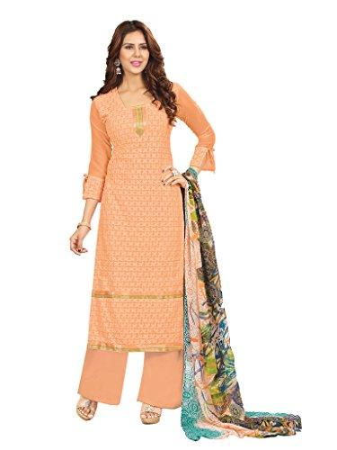 Riti Riwaz Exclusive Orange Faux Georgette Designer semi stitched Salwar Suits 4RHI1004