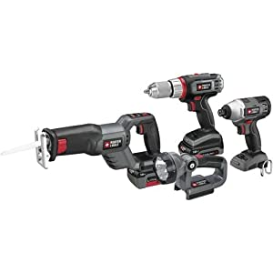 PORTER-CABLE PCL418IDC-2 18-Volt Lithium-Ion 4-Tool Combo Kit