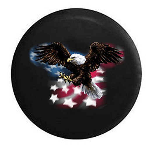 American Bald Eagle Flying Over Flag Spare Tire Cover Black 33 in (Jeep Wrangler Safari Tire Cover compare prices)