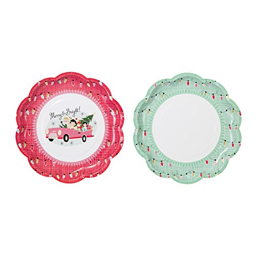 "Talking Tables Christmas at Our House Scalloped Paper Plates (8 Pack), 9"", Multicolor - 1"