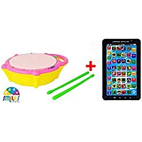 Smile Creations Combo Of Flash Drum With Light & Music & P1000 Kids Educational Learning Tablet Toy For Kids
