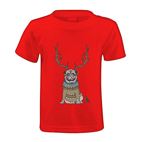snowl-deer-pug-unisex-crew-neck-short-sleeve-t-shirt-red