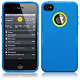 IPhone 4S / iPhone 4 Metal Texture TPU Gel Skin Case / Cover - Blue Part Of The Qubits Accessories Range