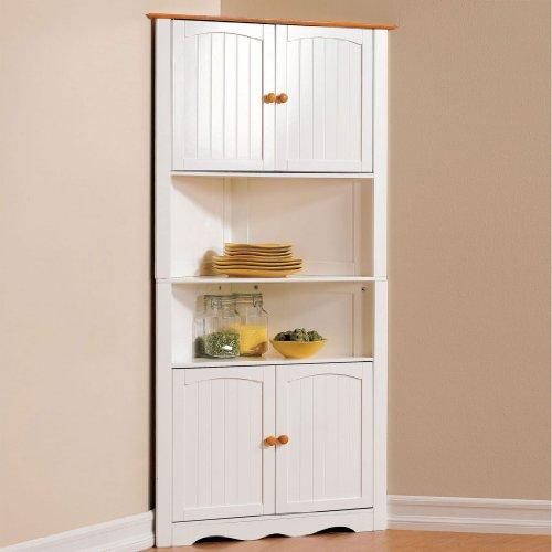 Brylanehome Country Kitchen Corner Cabinet White Honey0 Kitchen