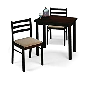Espresso Finish Table 2 Chair Dining Set Home Kitchen