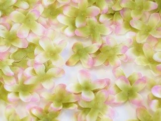 Silk 4-Petal Flowers Confetti (400 flowers per bag) - Green/Pink