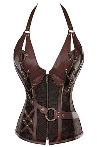 8105 Women's Waist Trainer Corset Steel Boned Steampunk Halter Gather Leather Shaper Large Brown