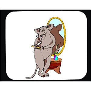 Decorated Mouse Pad with brush, hair, rat, mirror
