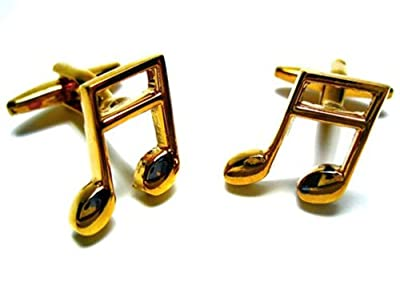 Gold Tone Music Note Cufflink