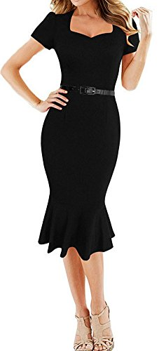 [LUNAJANY Women's Vintage Retro Style Pinup Mermaid Party Cocktail Wiggle Dress large black] (1940s Pin Up Girl)