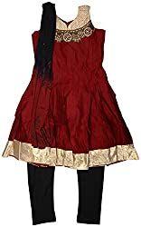 Gowri Marketing Girls' Salwar Set (AM00034_63, Red and Black, 13-14 years)