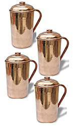 AsiaCraft Pure Copper Handmade Pitcher Jug with Lid, Set of 4