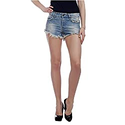 MansiCollections Solid Women's Blue Denim Shorts (32)