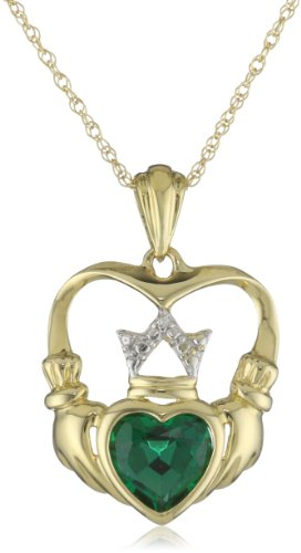 XPY 14k Yellow Gold Created Emerald and Diamond Claddagh Pendant