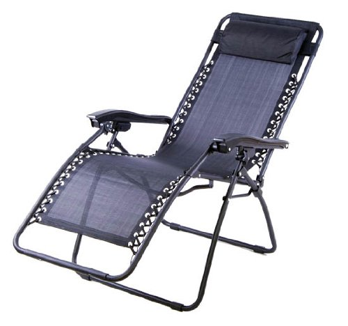 Folding Outdoor Lounge With Ottoman ~ Set of black zero gravity chair folding recliner patio