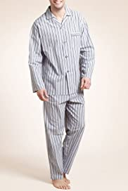 Pure Cotton Revere Striped Pyjamas [T07-2624-S]