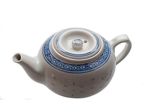 M.V. Trading Chinese Traditional Porcelain Blue And White Rice Pattern Tea Pot 21Oz