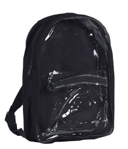 Clear PVC Security Backpack, Black by BAGS FOR LESSTM - 1
