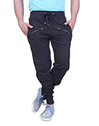 Thread Swag Men's Biker Style Trackpant With Zipper - Black XXL