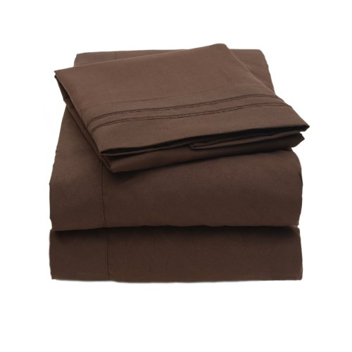 1500 Thread Count 4pc Bed Sheet Set Egyptian Quality Deep Pocket - Queen, Brown