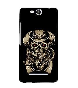printtech Cowboy Skull snake Back Case Cover for Micromax Bolt Q338
