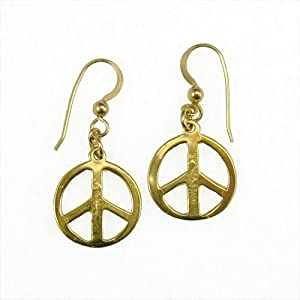 Small Peace Symbol gold dipped earrings
