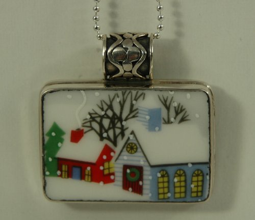 Hand Cut China Sterling Silver Pendant Christmas Winter Scene