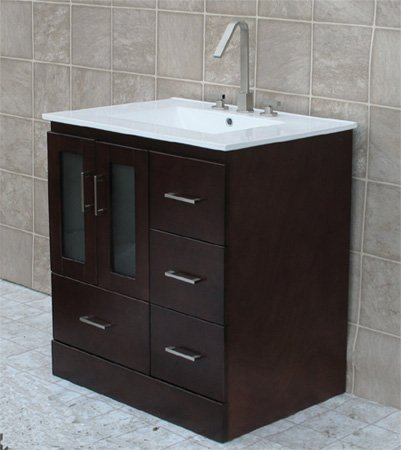 Bathroom Vanity on 30  Bathroom Vanity Solid Wood Cabinet Ceramic Top Sink Faucet Mo1