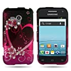 EMAXCITY Brand BLACK Hard Snap-On Cover Case with ROSE RED PURPLE LOVE HEART Design for SAMSUNG M830 GALAXY RUSH BOOST MOBILE