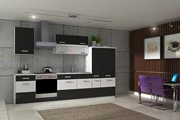 Kuche Fabienne 310 cm Kuchenzeile in schwarz / weiß - Kuchenblock variabel stellbar