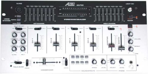 Audio2000'S Dj Mixer With Voice Synthesizer, Sound Effects, And 7-Band Equalizer