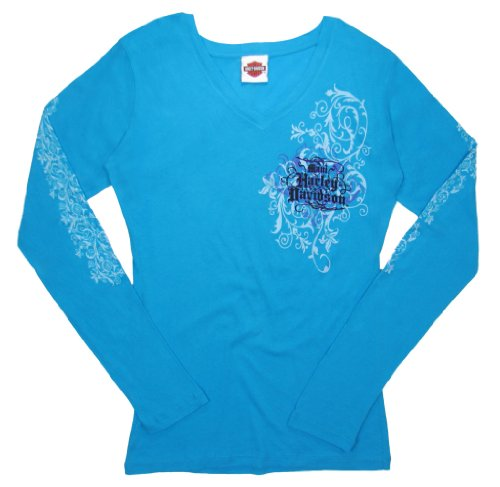 Maui Harley-Davidson Women's Floral Ribbon Carribean Blue Long Sleeve Tee - XL