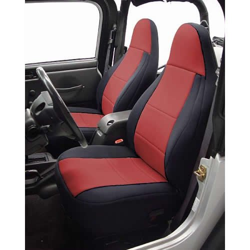 Coverking Custom Fit Seat Cover For Jeep Wrangler Yj 2-Door - (Neoprene, Black/Red)