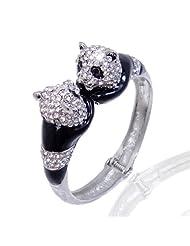 Ever Faith Austrian Crystal Animal Lover Panda Bracelet Clear Silver-Tone A01841-2