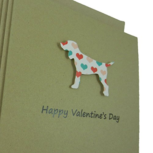 Dog Valentine's Day Greeting Card 10 pack Dog Silhouette with Coral and Teal Hearts Handmade Kraft Paper